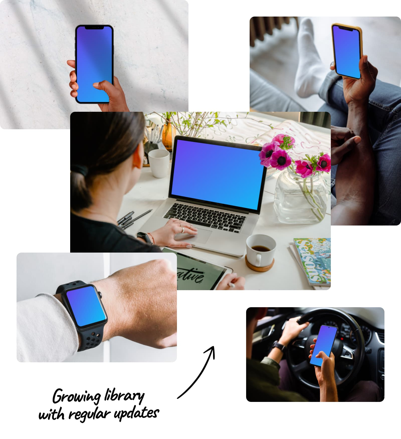 Growing library of device mockups